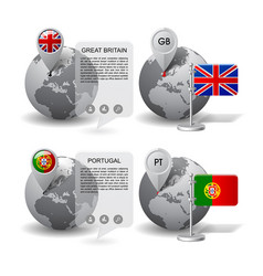 globes with map marker and state flags of great vector image