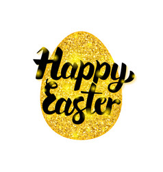 gold happy easter greeting vector image vector image