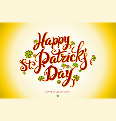 green happy saint patricks day design lettering vector image