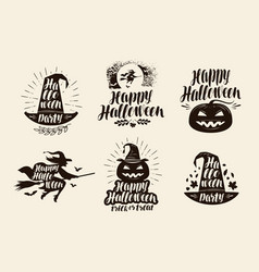 halloween logo or label lettering calligraphy vector image