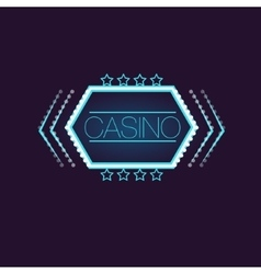 Hexahedron Casino Neon Sign vector image vector image