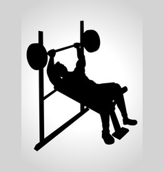 man exercising using weight bench vector image