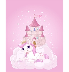 Sky Castle and Unicorn vector image vector image