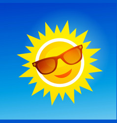 cheerful smiling cartoon sun in sunglasses on vector image