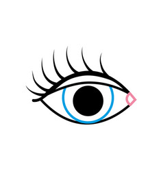 color line vision eye with eyelashes style design vector image vector image