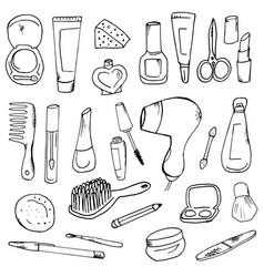 doodle cosmetics for women vector image
