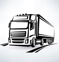 european truck outlined symbol vector image vector image