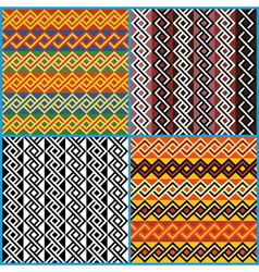 Four seamless ornaments on african ethnic motifs vector