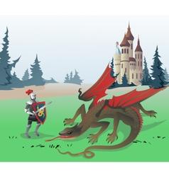 Knight fighting Dragon vector image