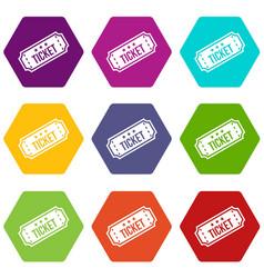 movie ticket icon set color hexahedron vector image