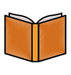 opened book close up in colored crayon silhouette vector image
