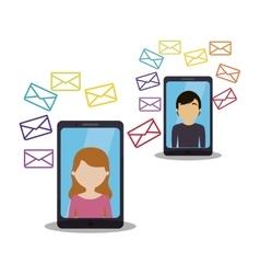 Person conversation online phone message vector
