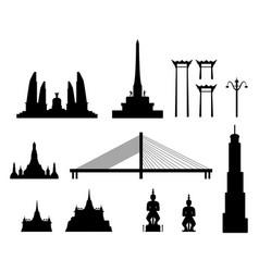 silhouette landmark buildings in bangkok vector image vector image