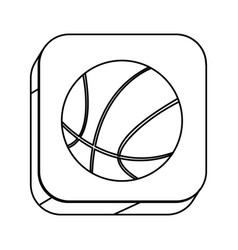 square silhouette button with contour basketball vector image vector image