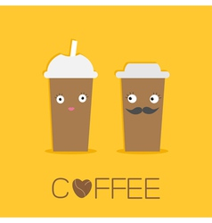 Two disposable coffee paper cups eyes mustache vector image vector image
