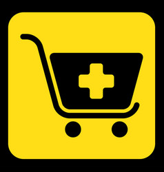 Yellow black information sign shopping cart plus vector