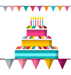 Cake with lit candles and flags flat design vector