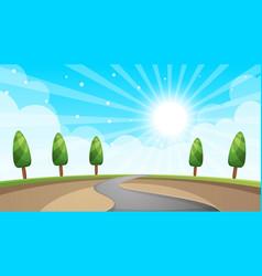 cartoon landscape road sun tree vector image