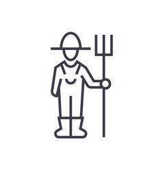male farmer with hayfork linear icon sign symbol vector image vector image