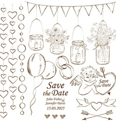 Set of wedding decoration elements vector image