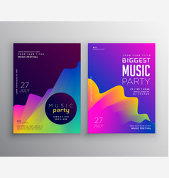 vibrant abstract music party event flyer poster vector image