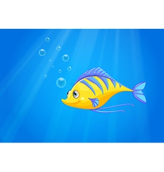 A hungry yellow fish under the sea vector image vector image