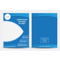 Blue brochure magazine cover vector