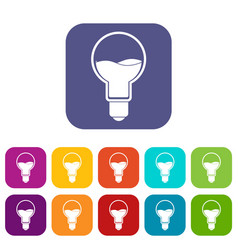 light bulb with blue water inside icons set flat vector image vector image