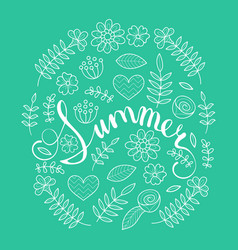 summer lettering in floral pattern round frame vector image vector image