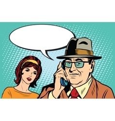 woman and man talking on the phone vector image vector image