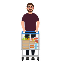 a bearded man stands with a shopping trolley the vector image