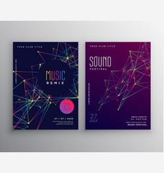 Abstract digital lines music flyer poster vector