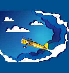 airplane flying on sky with clouds vector image