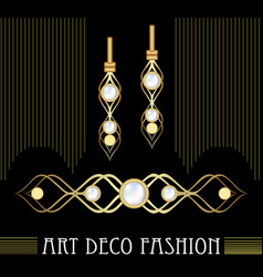Art deco golden jewel set earrings and brooch vector