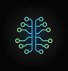Artificial intelligence brain creative outline vector