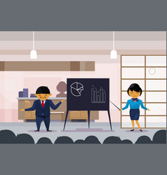 Asian business man and woman holding presentation vector