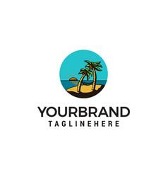 beach summer logo design concept template vector image