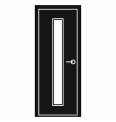 Black door with narrow glass icon vector image