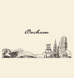 bochum skyline big city germany hand drawn vector image
