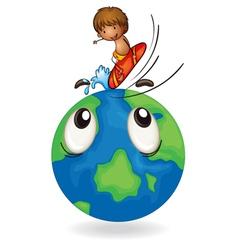 Boy surfing on earth globe vector