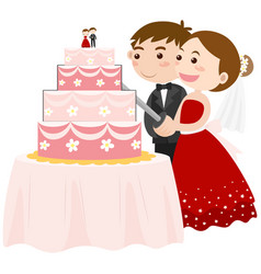 Bride and groom cutting wedding cake vector