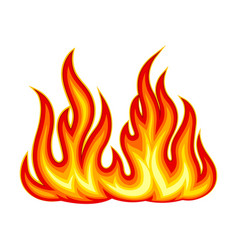 Bright fire blaze isolated on white background vector