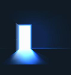 Bright light in room through open door open door vector
