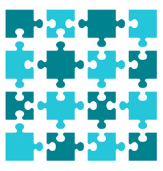 Business concept puzzles sixteen pieces flat vector