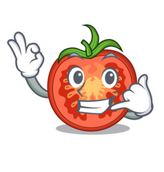 Call me red tomato slices isolated on mascot vector