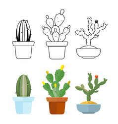 Cartoon and outline cactus set icons vector