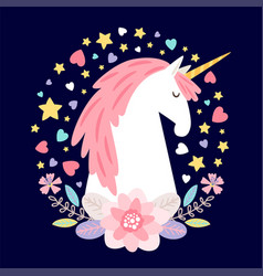 cartoon character unicorn with flowers vector image