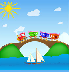 cartoon train 2 vector image