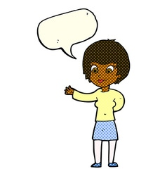 Cartoon welcoming woman with speech bubble vector