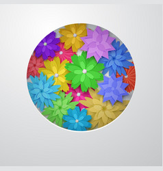 Circle of paper flowers vector